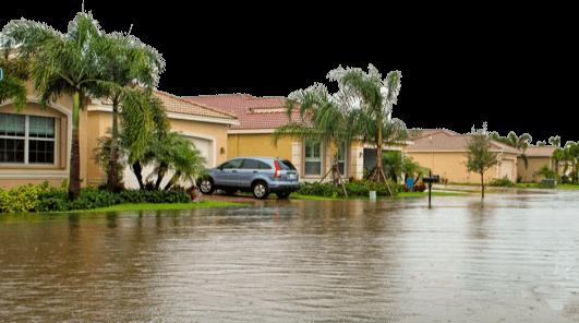 Calle inundada en Miami