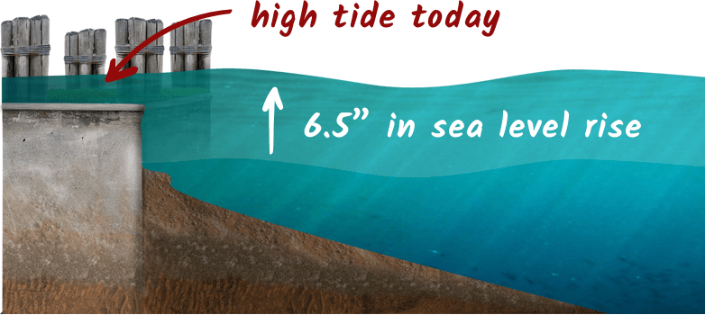 6.5 inches of sea level rise cause flooding with high tides